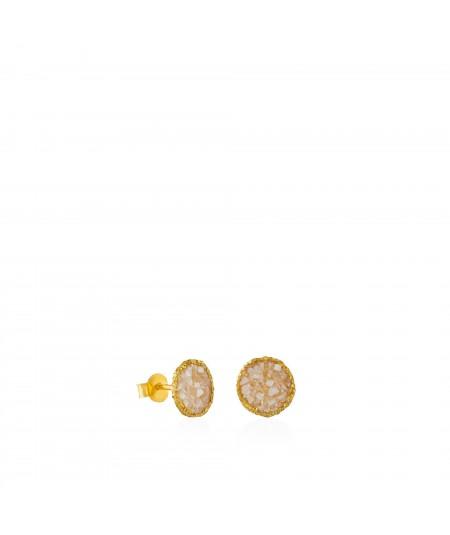 Pendientes dormilonas oro medianos Pearl con nácar blanco