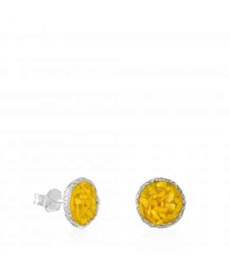 Pendientes dormilonas de plata grandes Sun con nácar amarillo