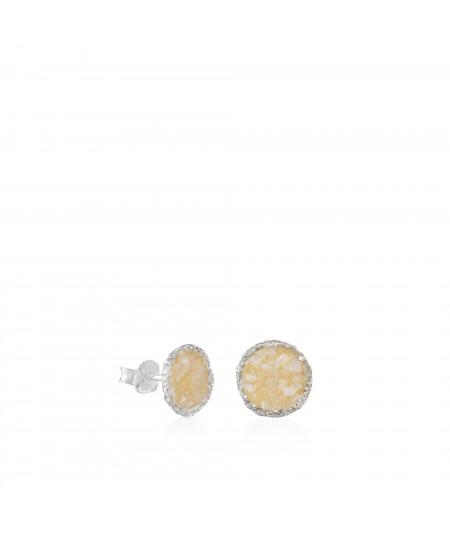Pendientes dormilonas de plata grandes Pearl con nácar blanco