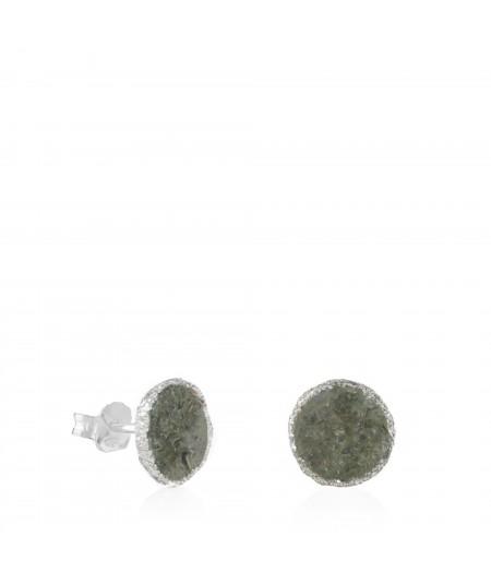 Pendientes dormilonas de plata grandes Shadow con nácar gris