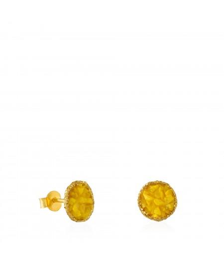 Pendientes dormilonas oro medianos Sun con nácar amarillo