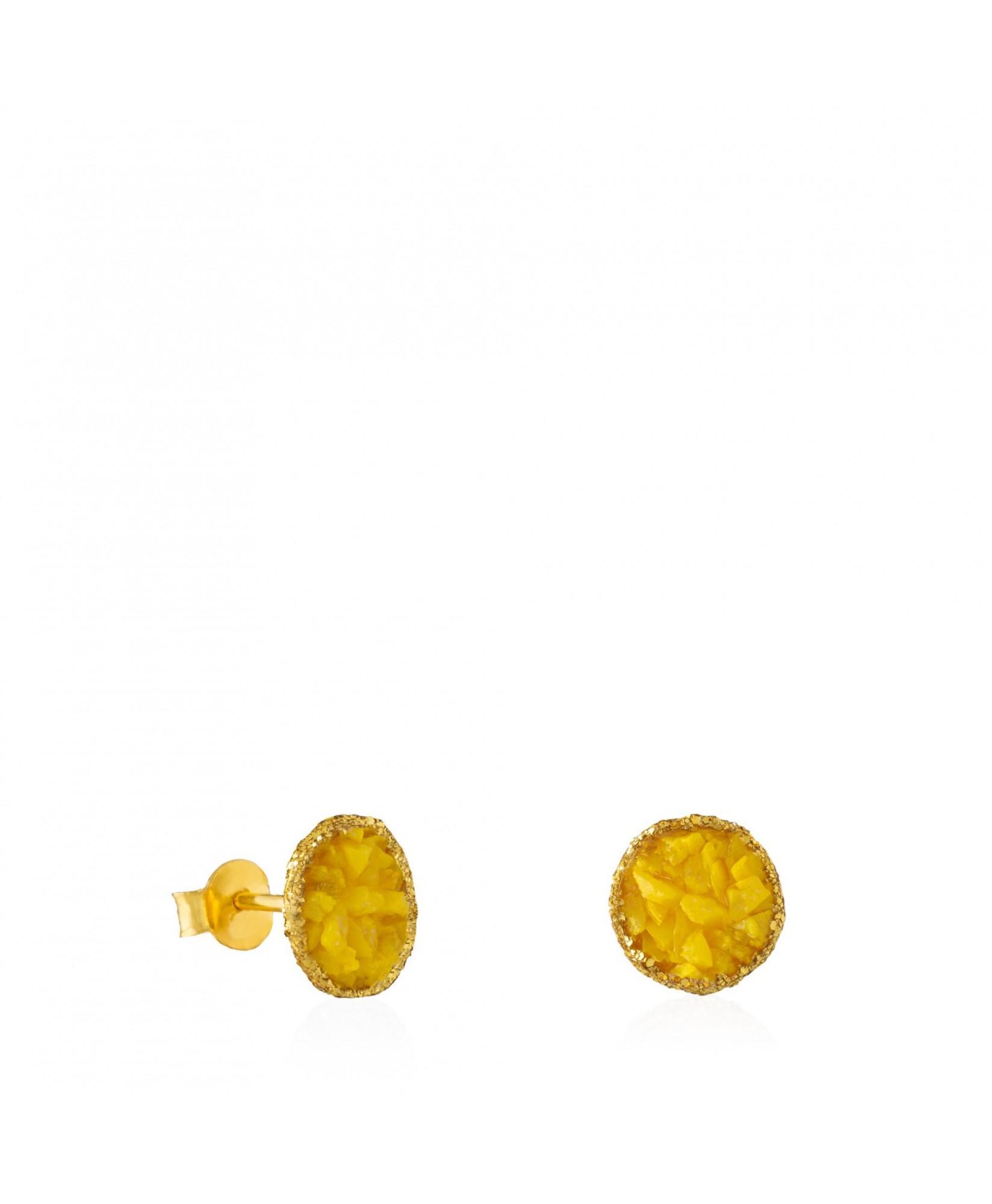 Pendientes dormilonas oro medianos Sun con nácar amarillo Pendientes dormilonas oro medianos Sun con nácar amarillo