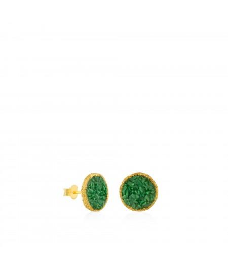 Pendientes dormilonas oro grandes Life con nácar verde