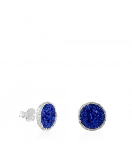 Pendientes dormilonas de plata grandes Klein con nácar azul