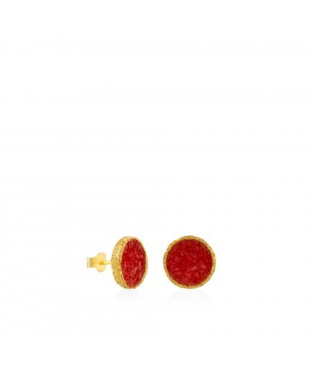 Pendientes dormilonas oro grandes Love con nácar rojo