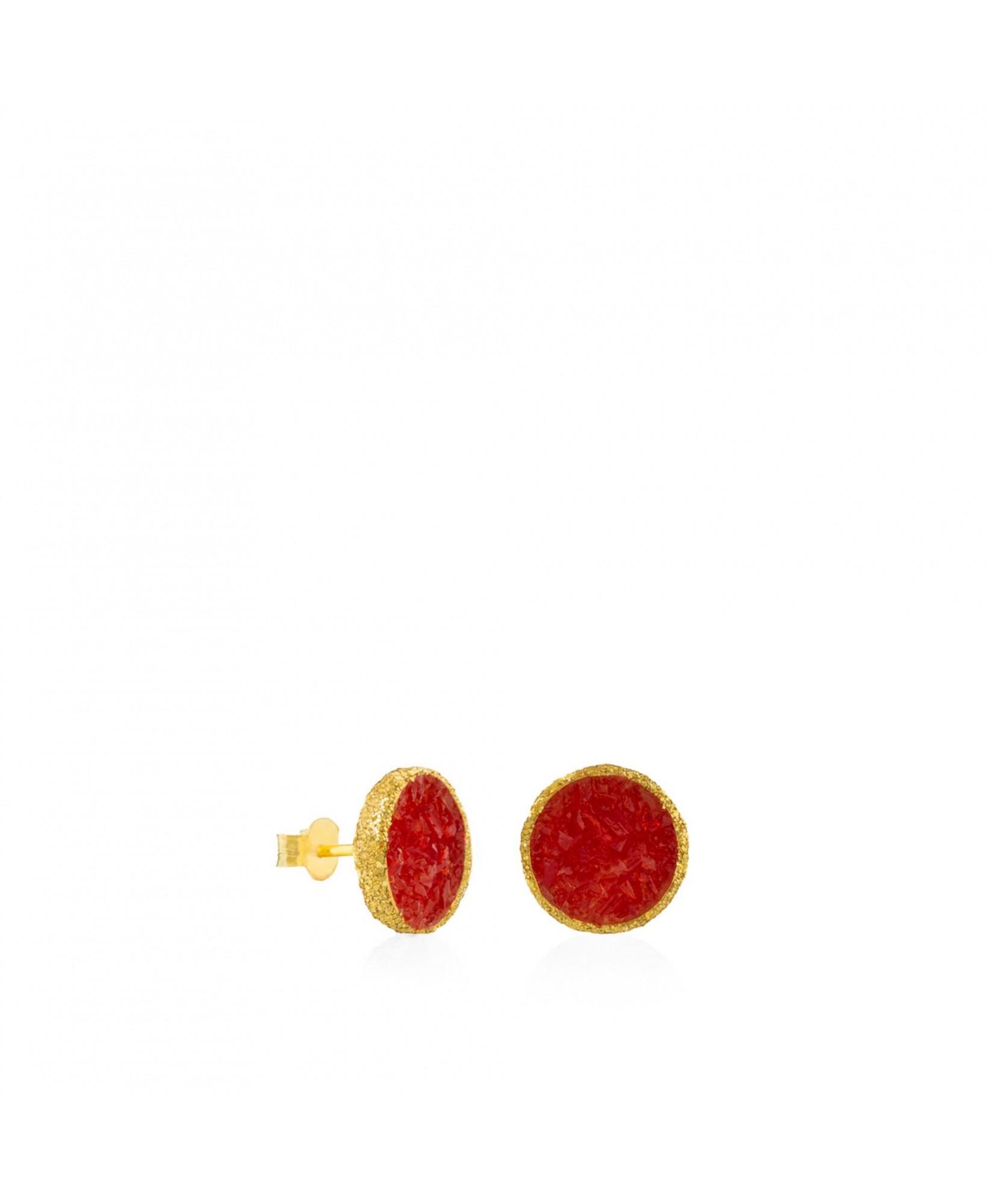 Pendientes dormilonas oro grandes Love con nácar rojo Pendientes dormilonas oro grandes Love con nácar rojo