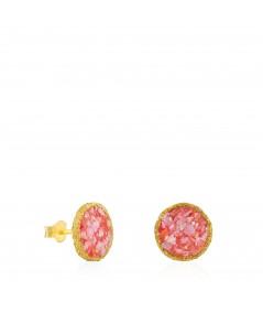 Pendientes dormilonas oro grandes Soft con nácar rosa