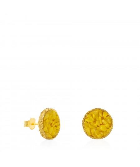 Pendientes dormilonas oro grandes Sun con nácar amarillo