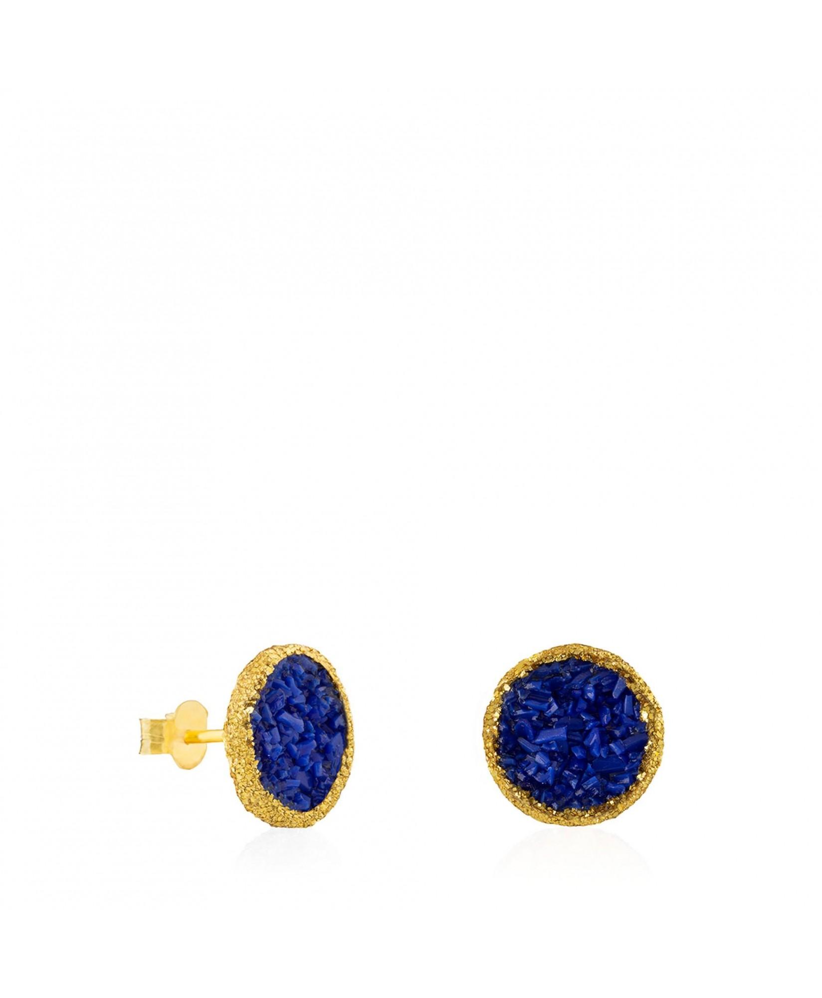 Pendientes dormilonas oro grandes Klein con nácar azul Pendientes dormilonas oro grandes Klein con nácar azul