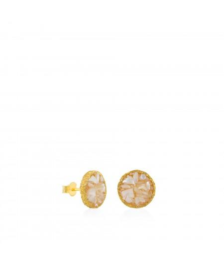 Pendientes dormilonas oro grandes Pearl con nácar blanco