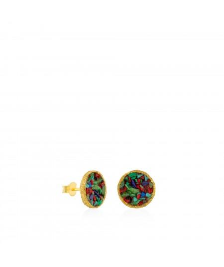 Pendientes dormilonas oro grandes Rainbow con nácar multicolor
