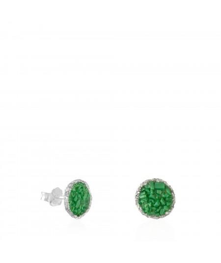 Pendientes dormilonas de plata medianos Grass con nácar verde