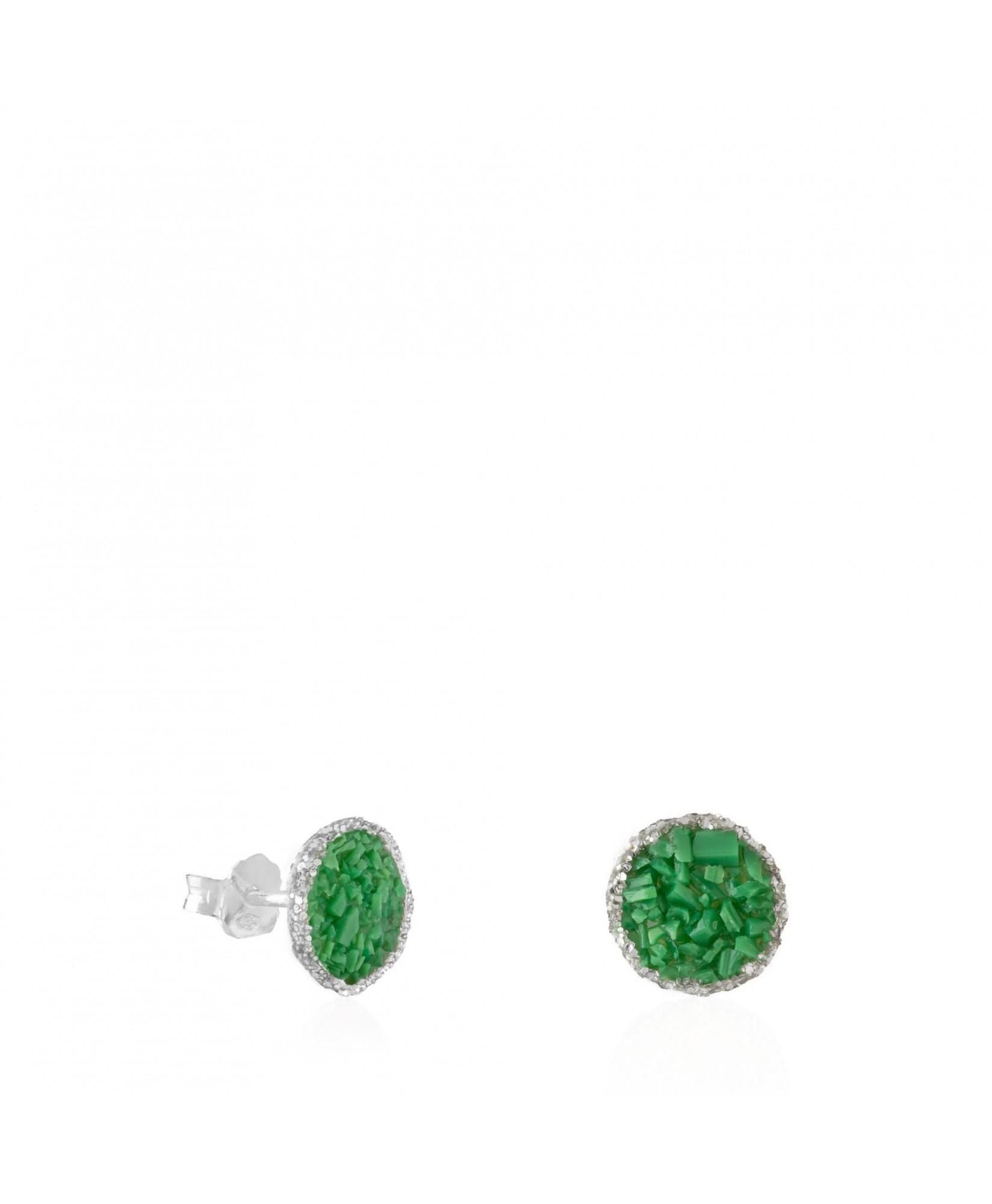 Pendientes dormilonas de plata medianos Grass con nácar verde Pendientes dormilonas de plata medianos Grass con nácar verde
