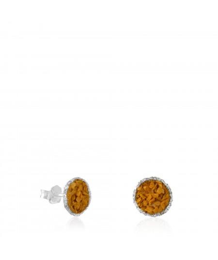 Dormilonas de plata Sand con nácar color mostaza tamaño mediano