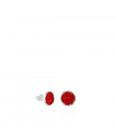 Pendientes dormilonas de plata medianos Love con nácar rojo