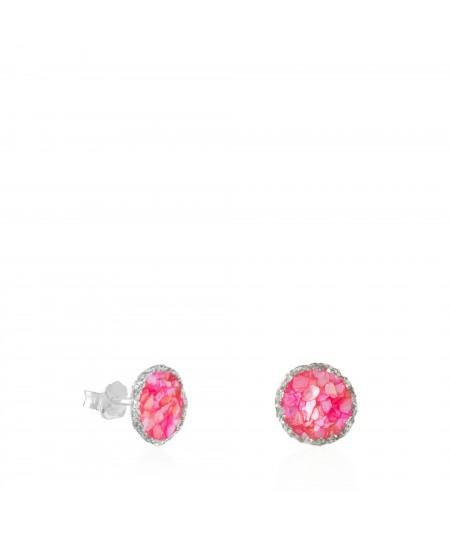 Pendientes dormilonas de plata medianos Doll con nácar rosa