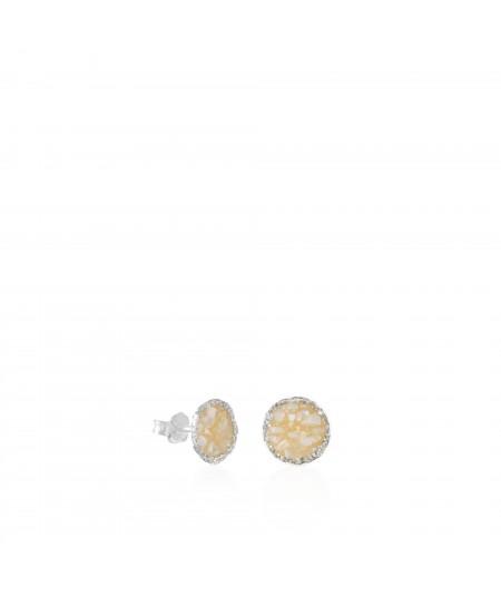 Pendientes dormilonas de plata medianos Pearl con nácar blanco