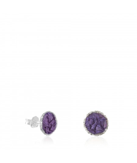 Pendientes dormilonas plata Venus medianas con nácar violeta