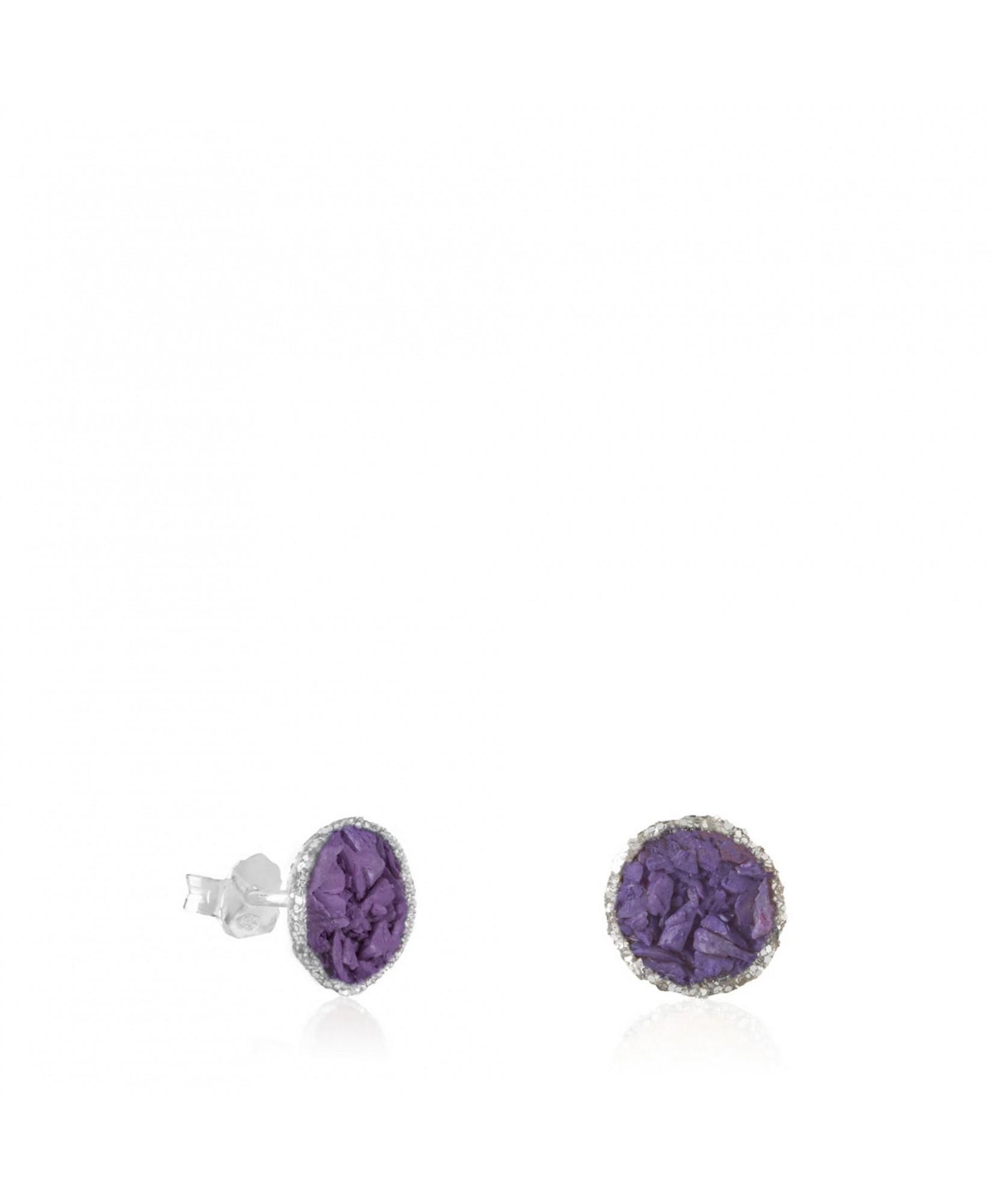 Pendientes dormilonas plata Venus medianas con nácar violeta Pendientes dormilonas plata Venus medianas con nácar violeta