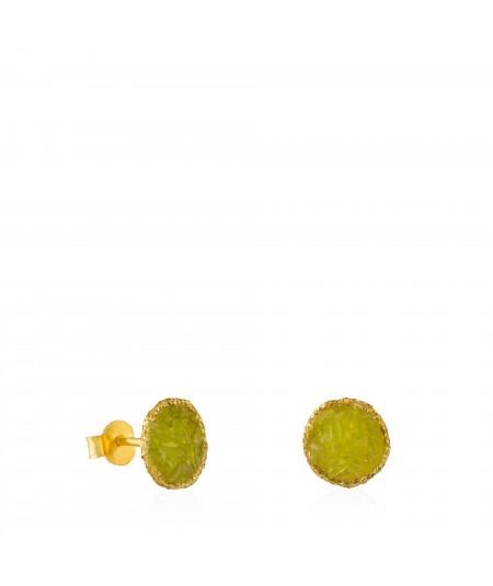 Pendientes dormilonas oro medianos Olivine con piedra verde olivina