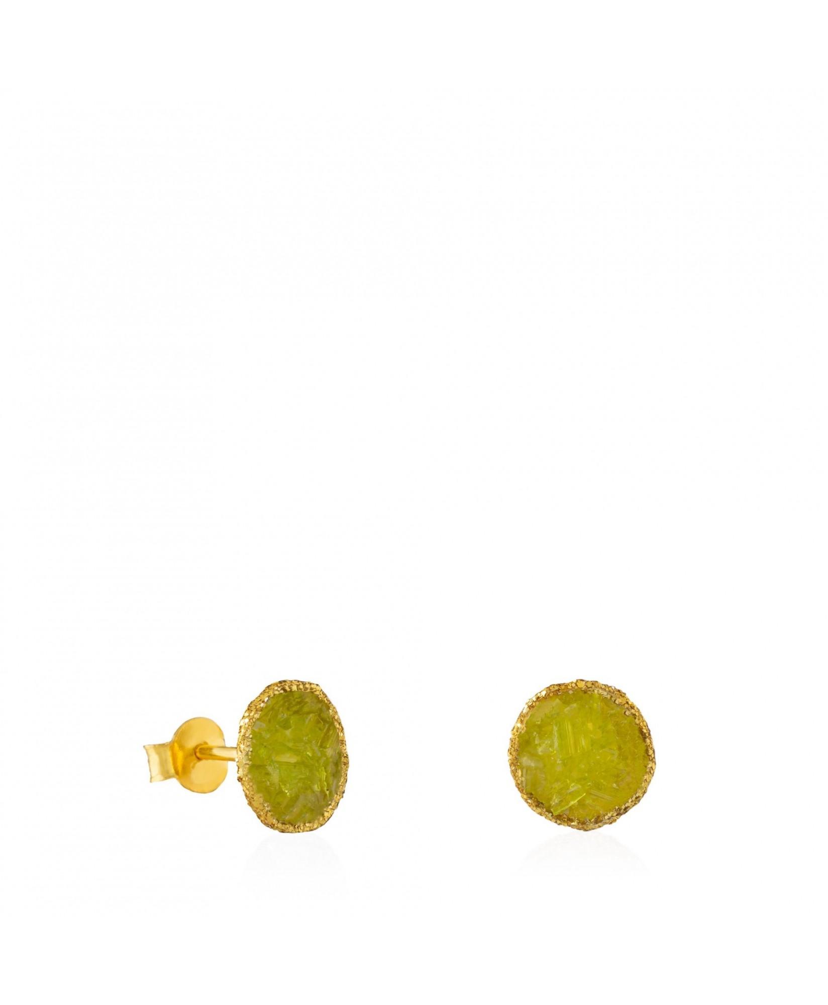 Pendientes dormilonas oro medianos Olivine con piedra verde olivina Pendientes dormilonas oro medianos Olivine con piedra verde olivina
