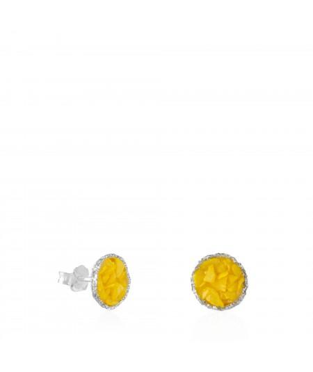Pendientes dormilonas de plata medianos Sun con nácar color amarillo