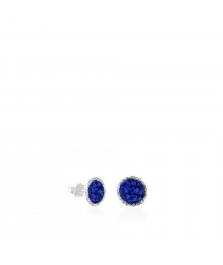 Pendientes dormilonas de plata medianos Klein con nácar azul