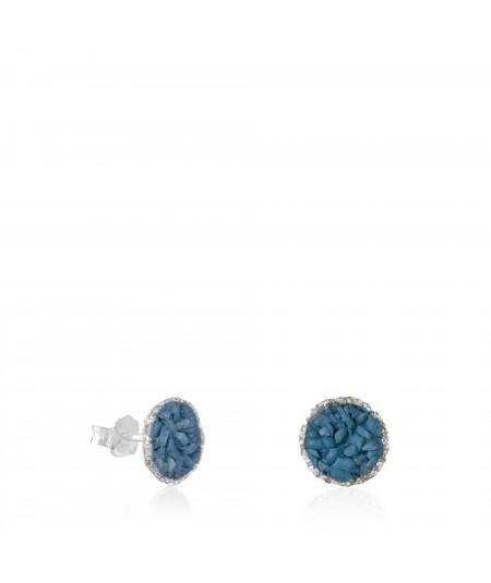 Pendientes dormilonas de plata medianas Sky con nácar azul ducado
