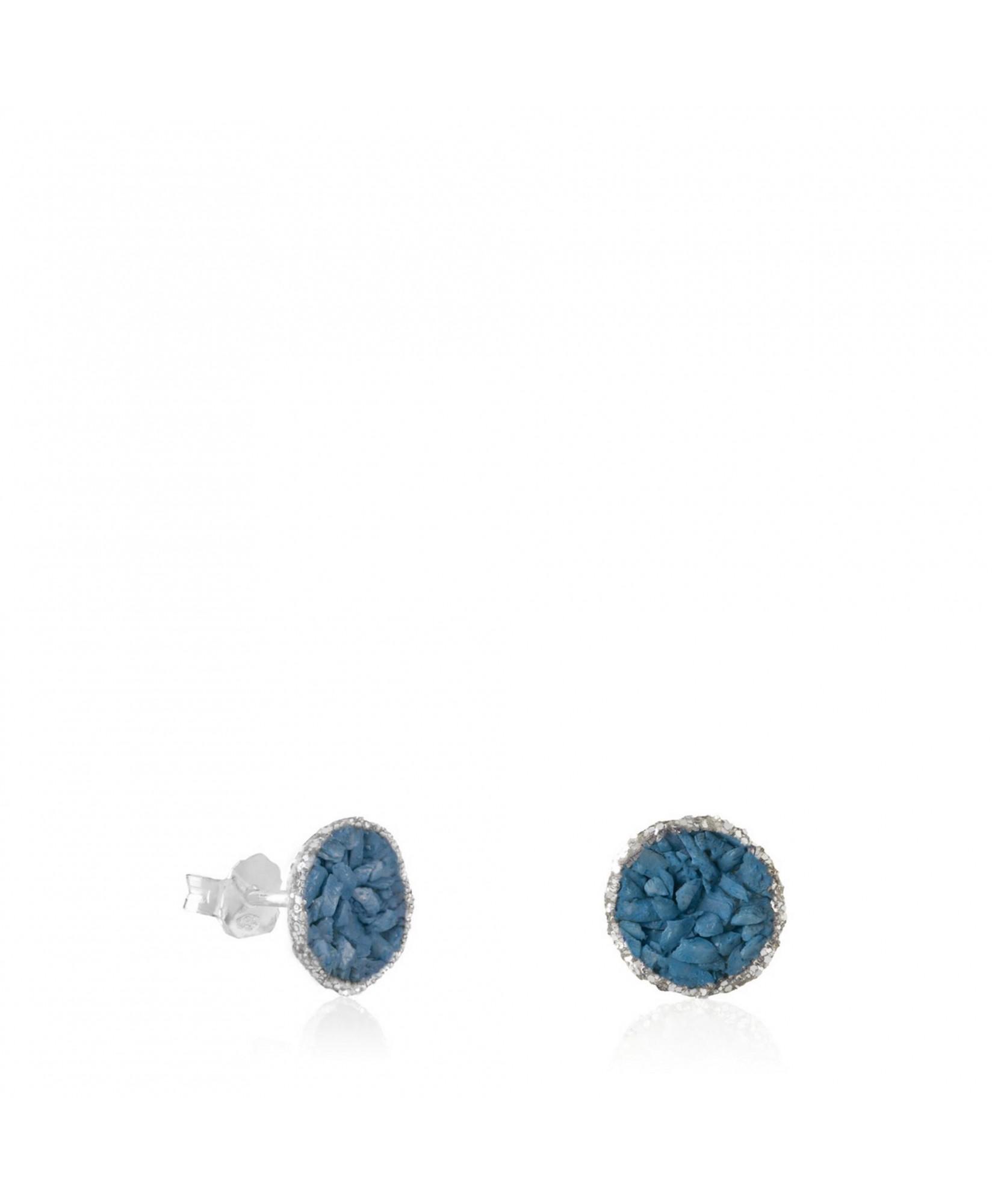 Pendientes dormilonas de plata medianas Sky con nácar azul ducado Pendientes dormilonas de plata medianas Sky con nácar azul ducado