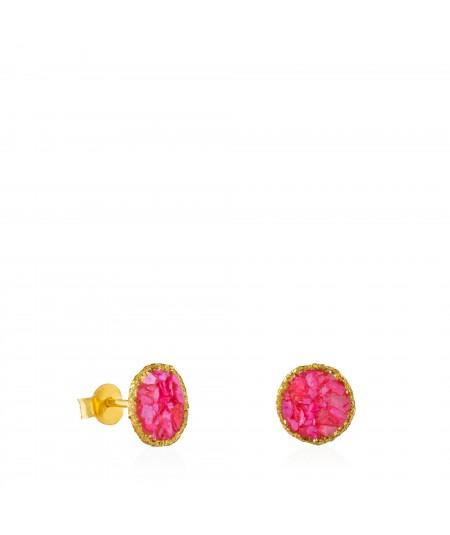 Pendientes dormilonas oro medianos Doll con nácar rosa