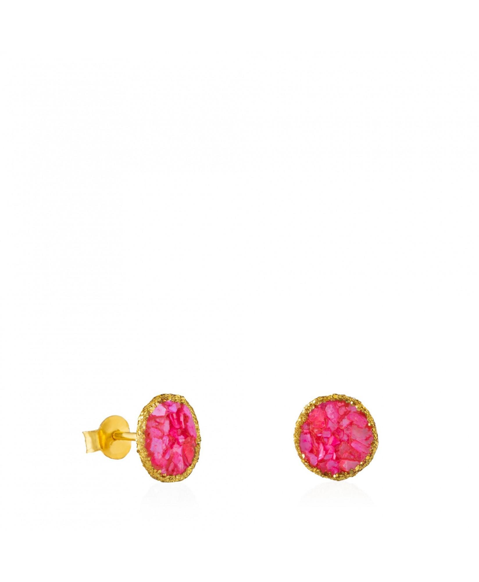 Pendientes dormilonas oro medianos Doll con nácar rosa Pendientes dormilonas oro medianos Doll con nácar rosa