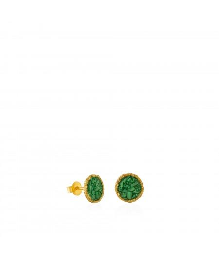 Pendientes dormilonas oro medianos Grass con nácar verde