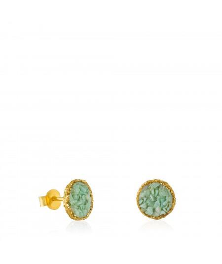 Pendientes dormilonas oro medianas Caribe con nácar color aguamarina