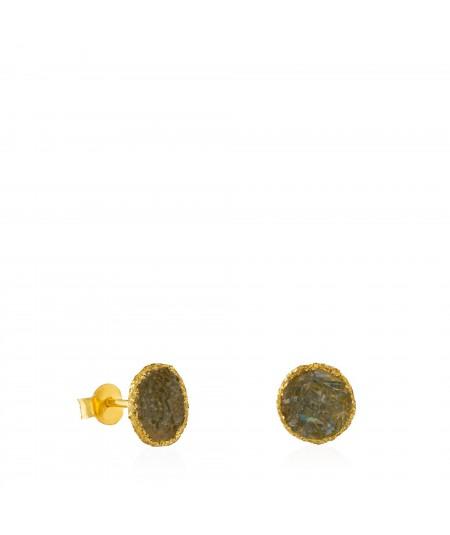 Pendientes dormilonas oro medianos Shadow con nácar gris