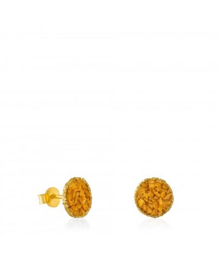 Pendientes dormilonas medianas oro Sand con nácar color mostaza