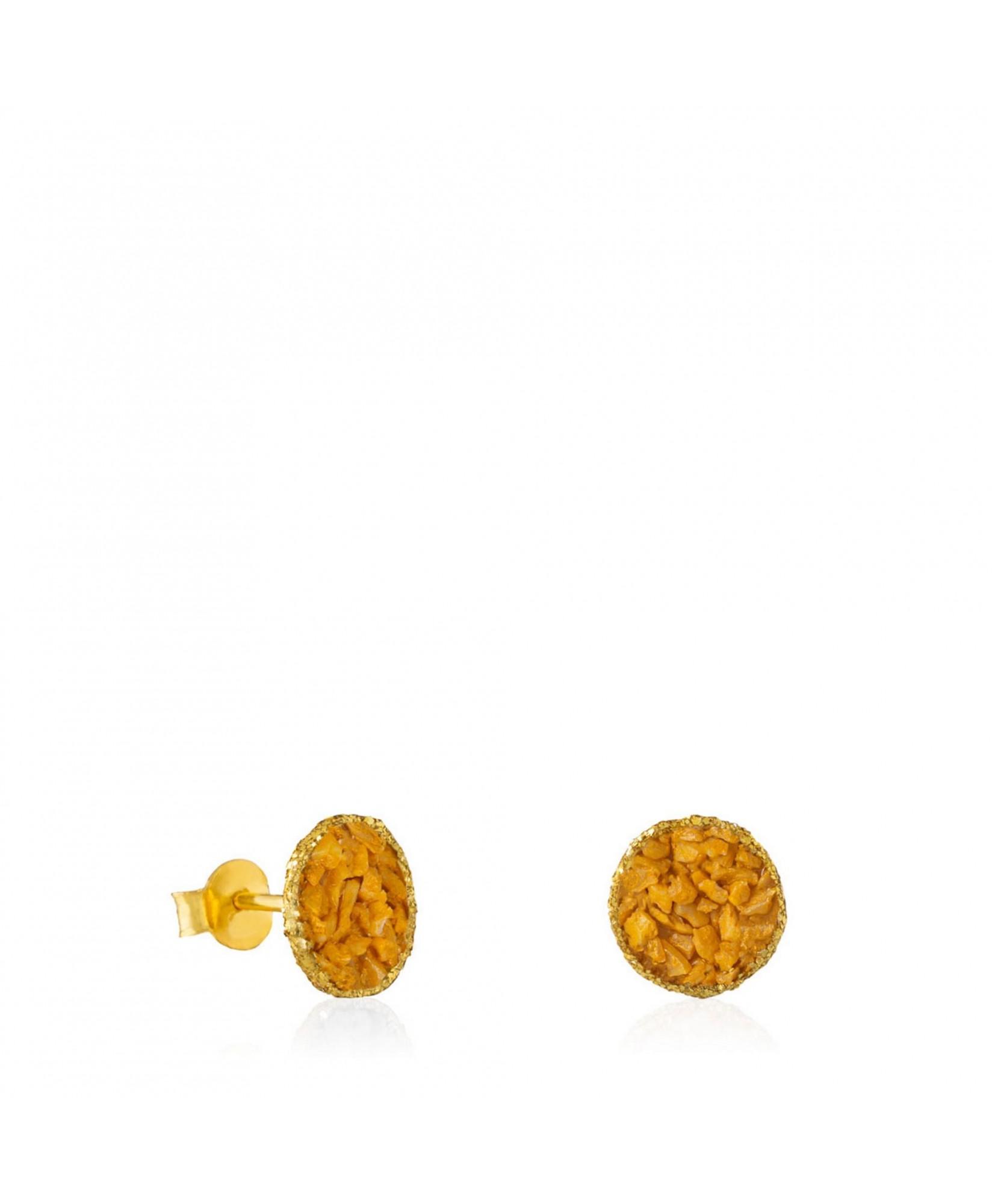 Pendientes dormilonas medianas oro Sand con nácar color mostaza Pendientes dormilonas medianas oro Sand con nácar color mostaza