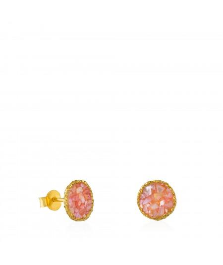 Pendientes dormilonas oro medianos Soft con nácar rosa