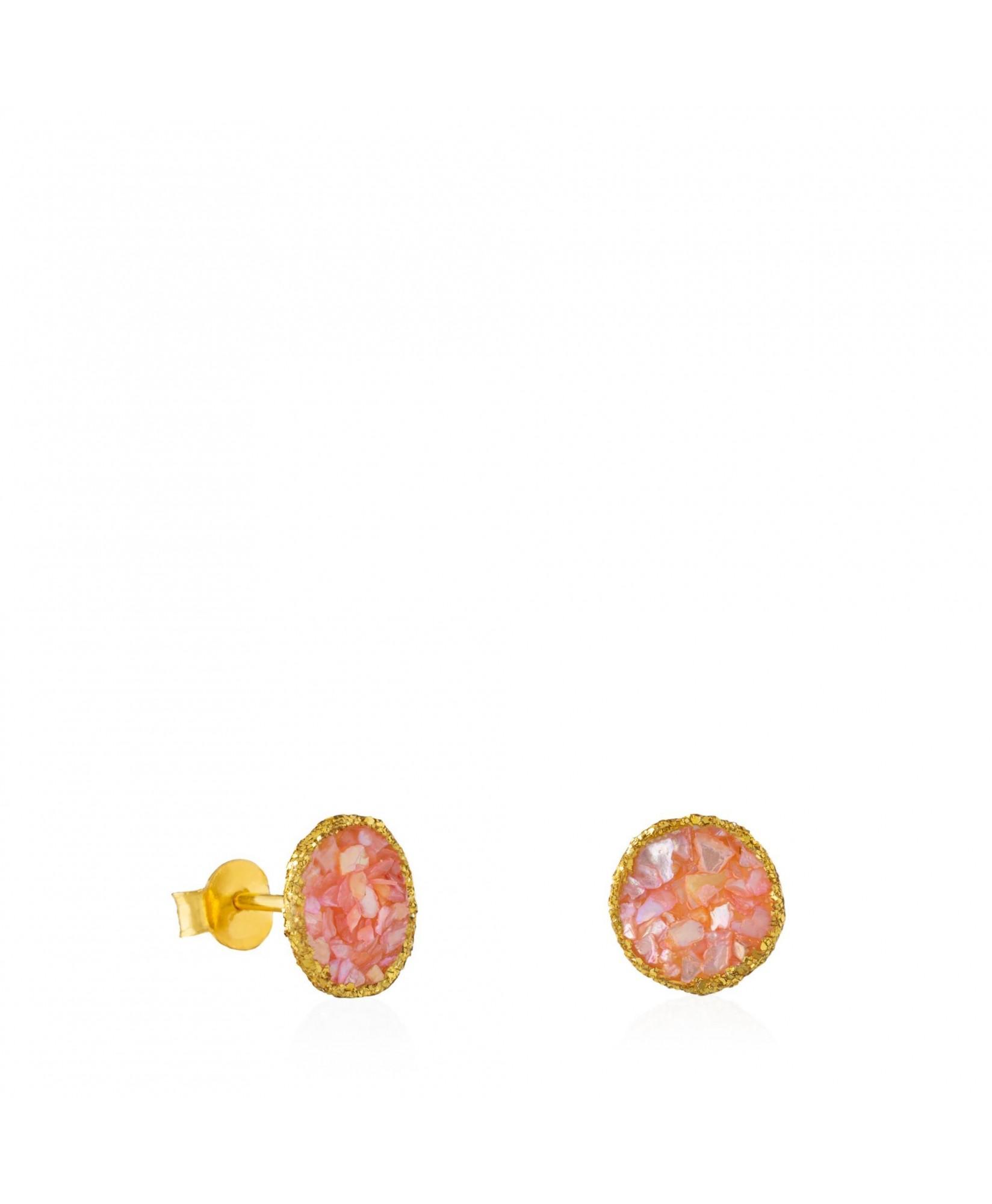 Pendientes dormilonas oro medianos Soft con nácar rosa Pendientes dormilonas oro medianos Soft con nácar rosa