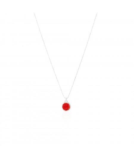 Gargantilla de plata con colgante redondo Love con nácar rojo