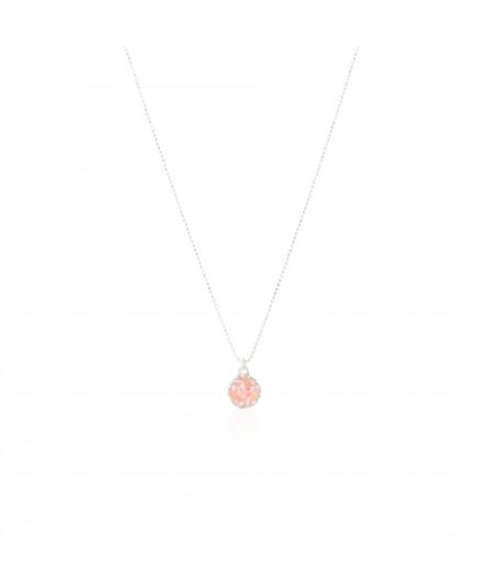 Gargantilla de plata con colgante redondo Soft con nácar rosa