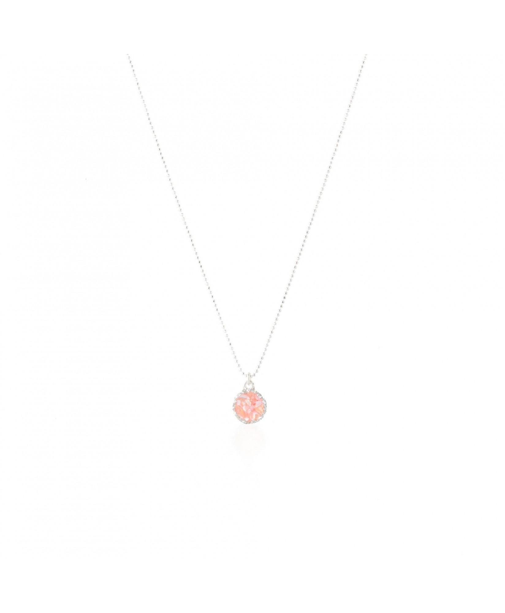Gargantilla de plata con colgante redondo Soft con nácar rosa Gargantilla de plata con colgante redondo Soft con nácar rosa