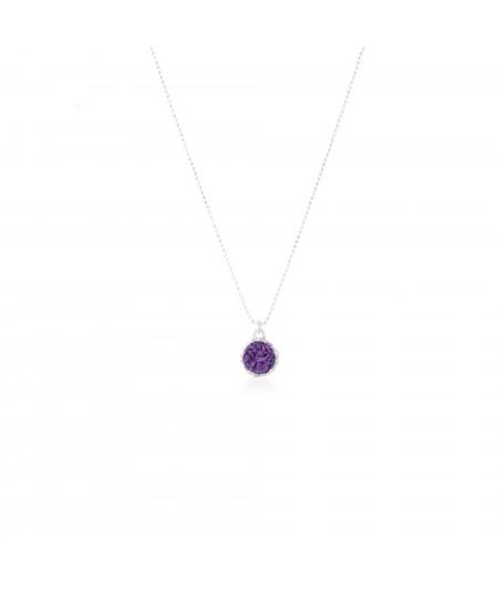 Gargantilla de plata 925 para mujer Venus colgante redondo con nácar violeta