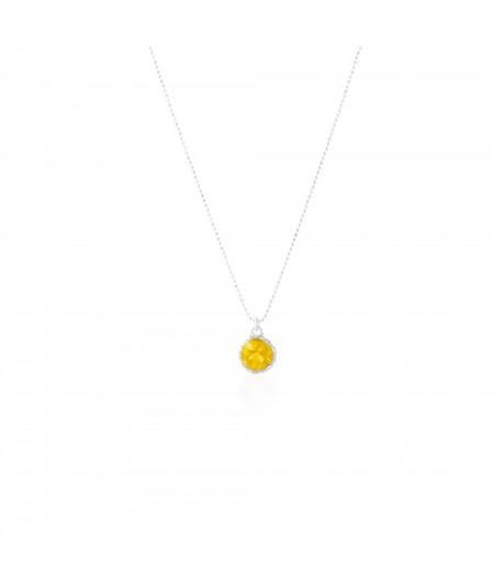 Gargantilla de plata con colgante redondo Sun con nácar amarillo