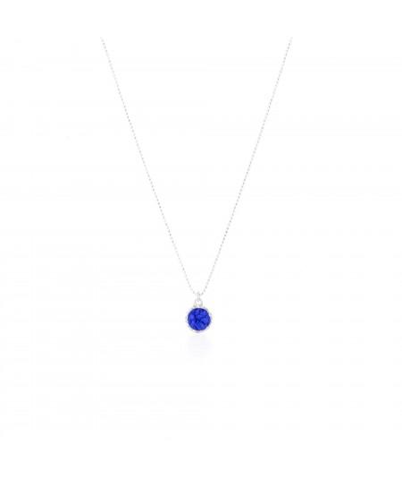 Gargantilla plata con colgante redondo Klein con nácar azul
