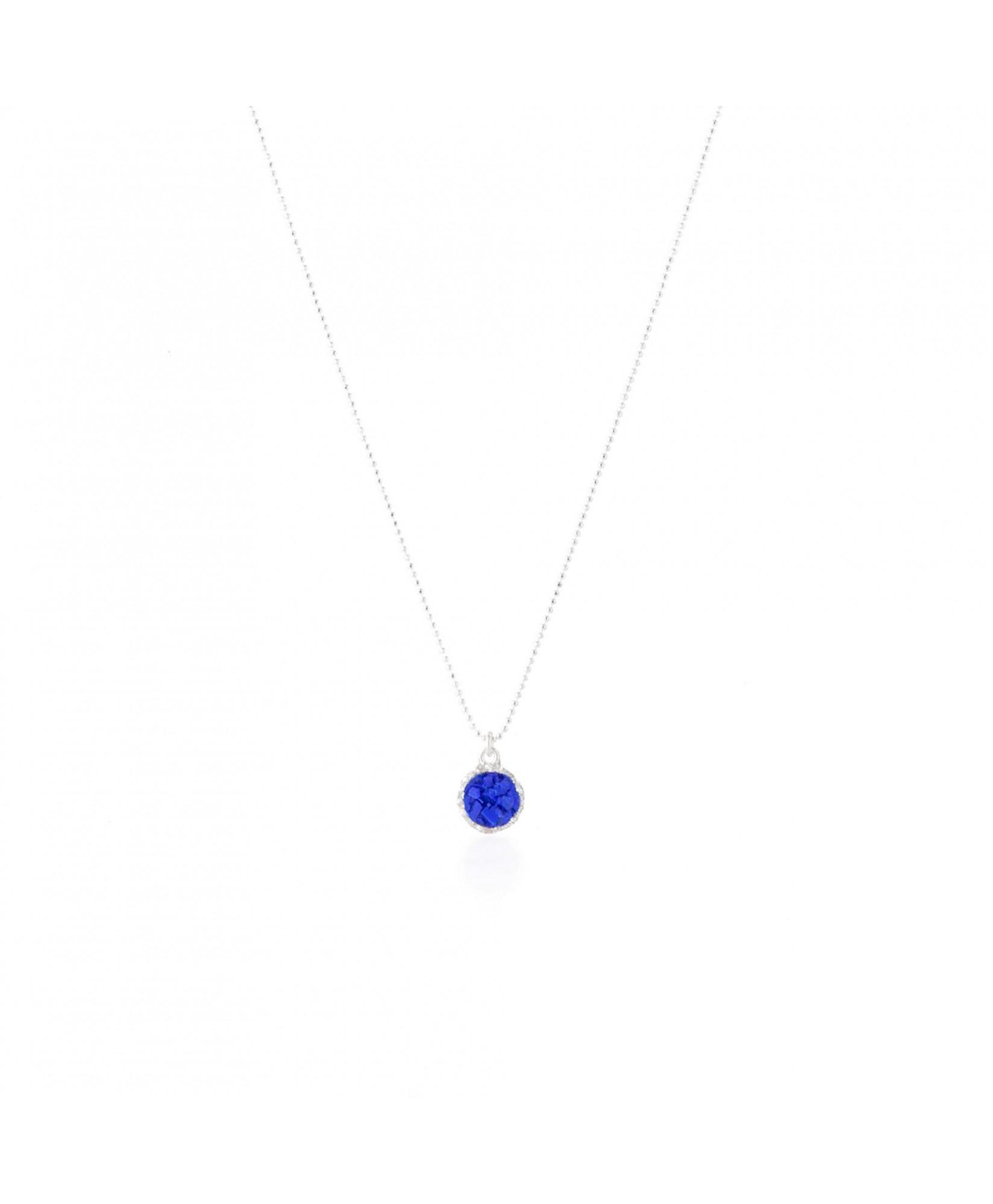 Gargantilla plata con colgante redondo Klein con nácar azul Gargantilla plata con colgante redondo Klein con nácar azul