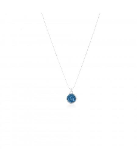 Gargantilla de plata mujer Sky colgante redondo con nácar azul ducado
