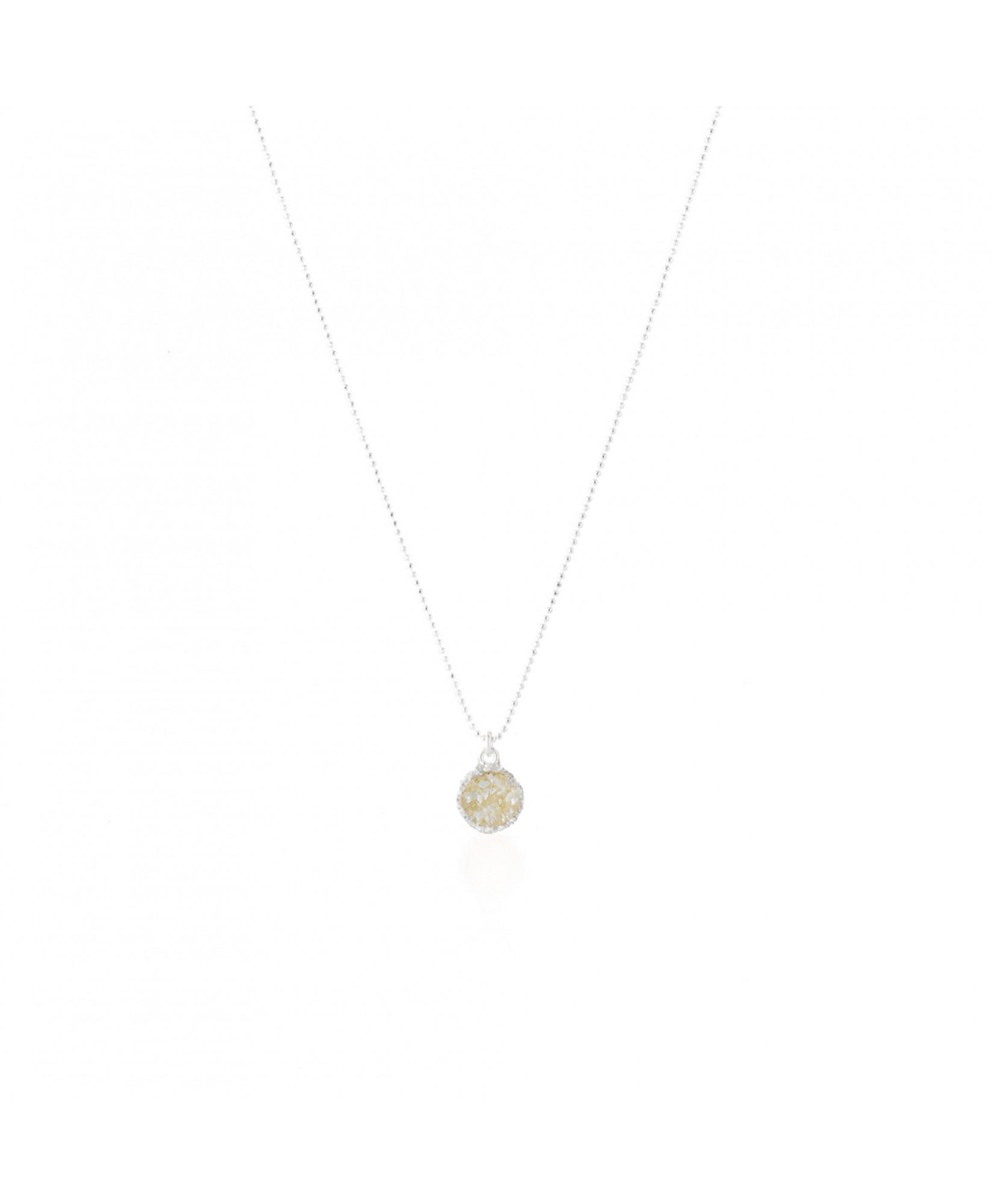 Gargantilla en plata con colgante redondo Pearl con nácar blanco Gargantilla en plata con colgante redondo Pearl con nácar blanco
