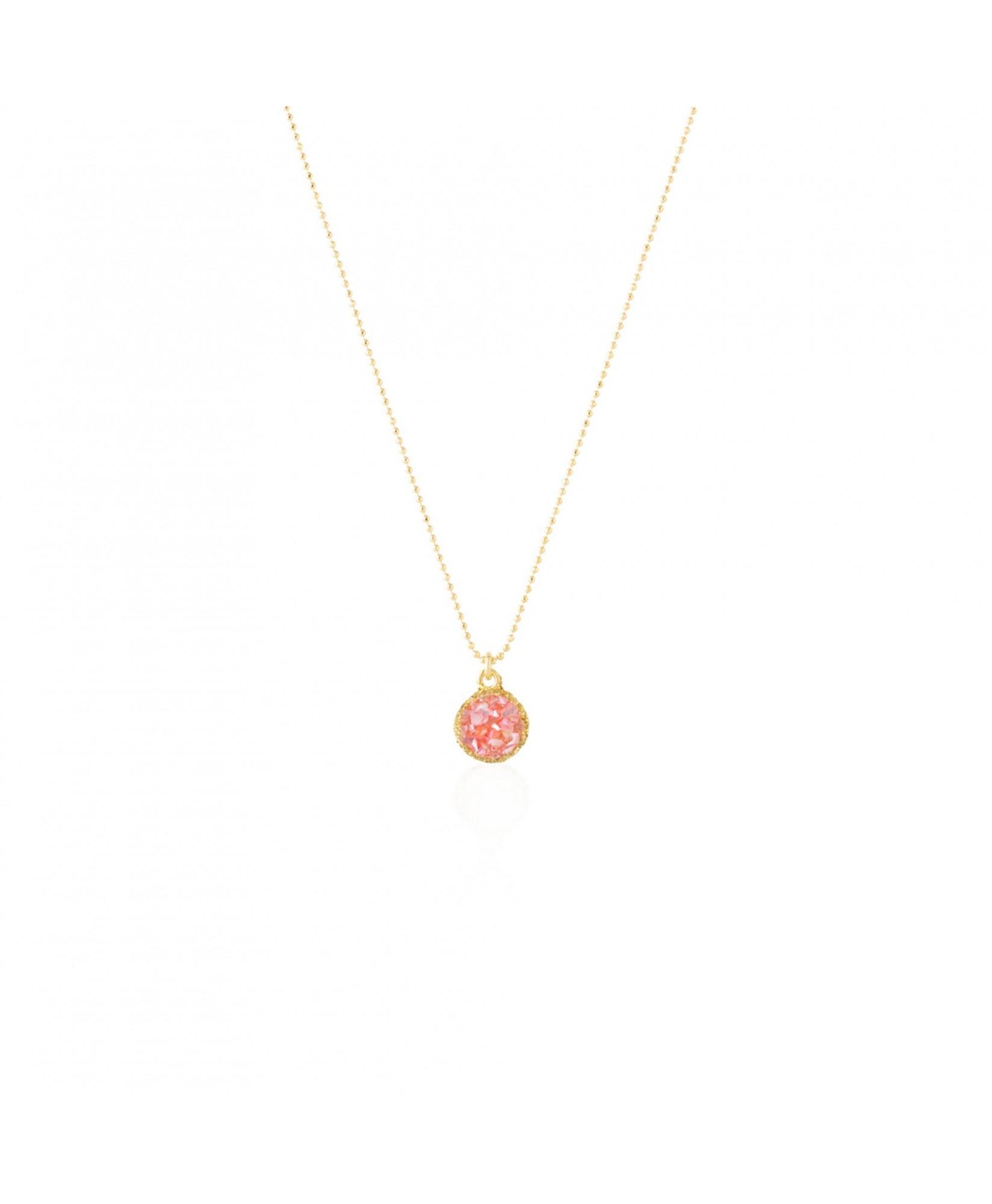 Gargantilla oro con colgante redondo Soft con nácar rosa