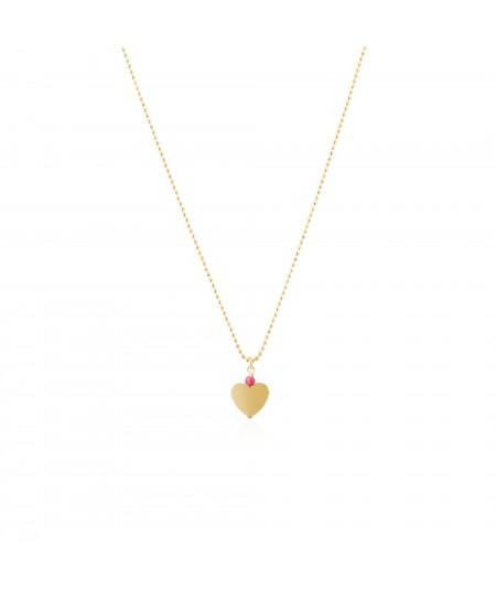 Gargantilla oro Luna con colgante de corazón y circonita fucsia