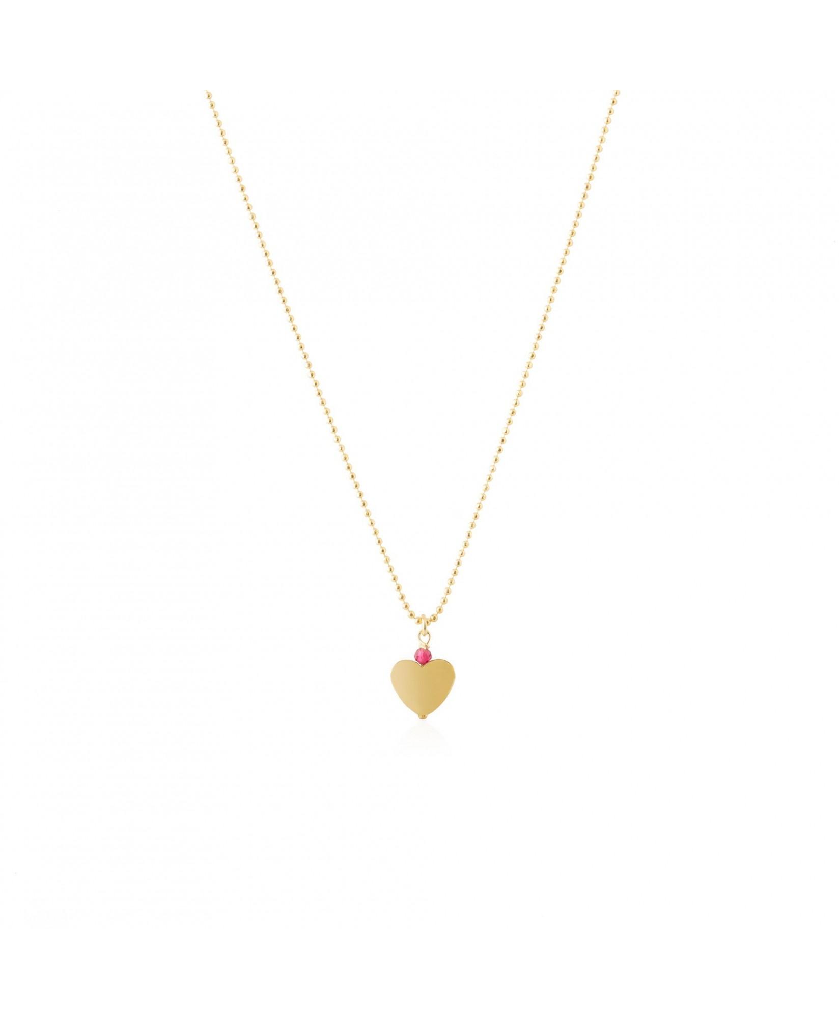 Gargantilla oro Luna con colgante de corazón y circonita fucsia Gargantilla oro Luna con colgante de corazón y circonita fucsia